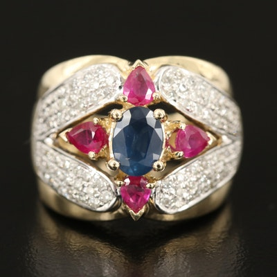 14K 1.07 CT Sapphire, Ruby, and Diamond Ring