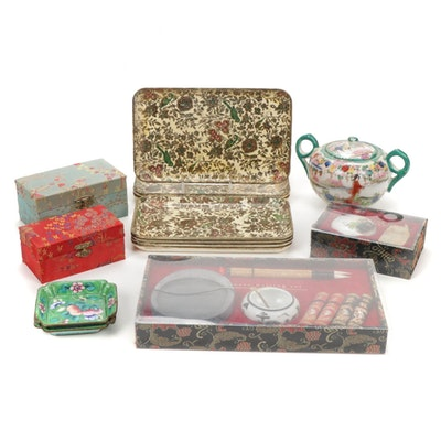 Asian Calligraphy Set, Papier-Mache Trays, and Other Decor