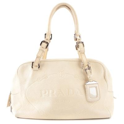 Prada Boston Shoulder Bag in Off-White Deerskin Leather with Embossed Logo