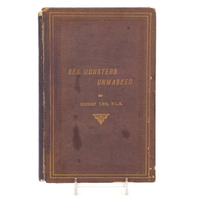 """Illustrated """"Sea Monsters Unmasked"""" by Henry Lee, 1884"""