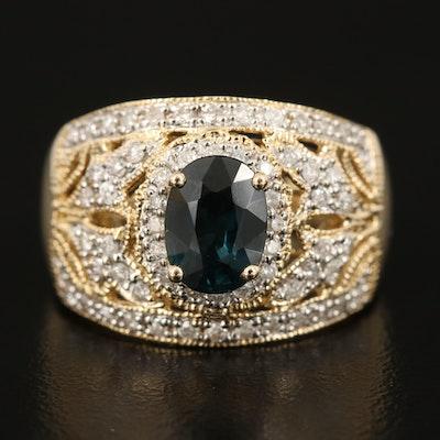 14K 1.42 CT Sapphire and Diamond Openwork Ring with Milgrain Detailing