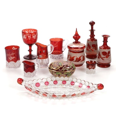 Bohemian Style Crystal Ruby Cut to Clear Glasses and Other Tableware