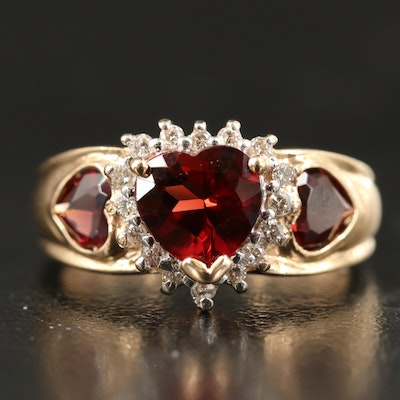 14K Garnet and Diamond Heart Ring with Halo