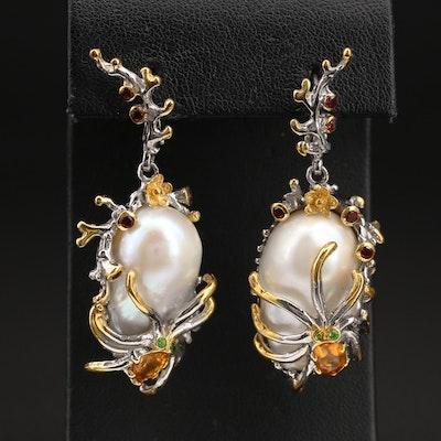 Sterling Pearl, Garnet and Citrine Octopus Earrings