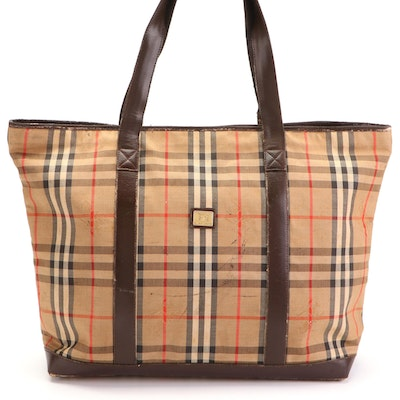 """Burberrys Tote in """"Haymarket Check"""" Twill with Brown Leather Trim"""