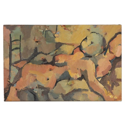Expressionist Style Oil Painting of Nude, Mid to Late 20th Century