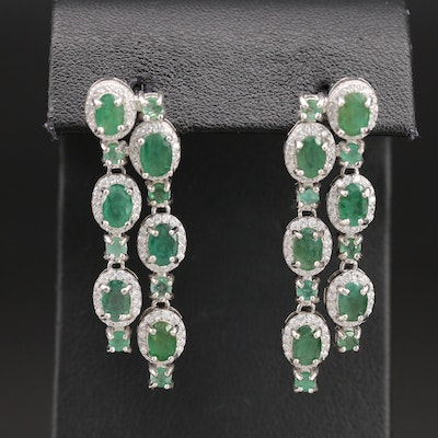 Sterling Emerald and Cubic Zirconia Dangle Earrings