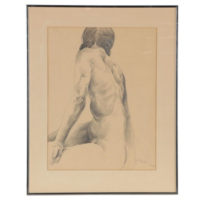 Richard Deane Graphite Drawing of Seated Nude, 1976