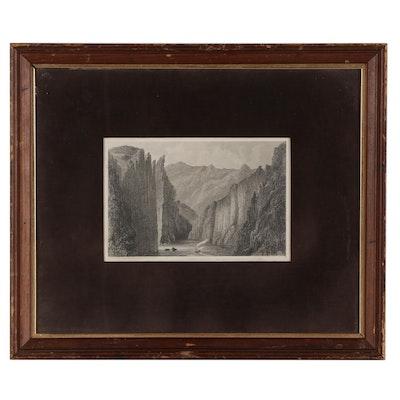 "John James Young Engraving ""Mojave Cañyon,"" Mid-19th Century"