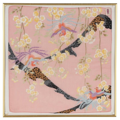 Japanese Printed Silk Scarf Wall Hanging, Late 20th Century