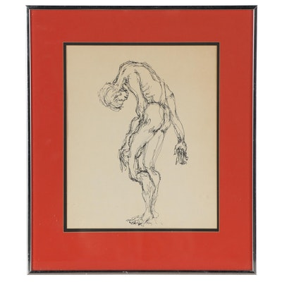 Elsie Kay Harris Figural Ink Drawing, Late 20th Century