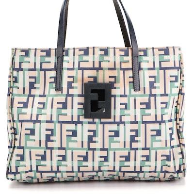 Fendi Zucca Tote in Multicolor Nylon Jacquard with Cut-Out FF Logo