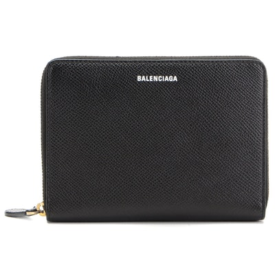 Balenciaga Everyday Mini Zip Wallet in Black Saffiano Leather