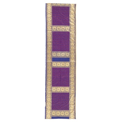 Indian Bead-Trimmed Brocade Fabric, Late 20th Century