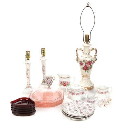 Lefton China, Anchor Hocking Glass, Scherzer Porcelain Tableware, Lamps, More