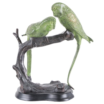 Cold Painted Cast Bronze o Parrots Perched on Branch