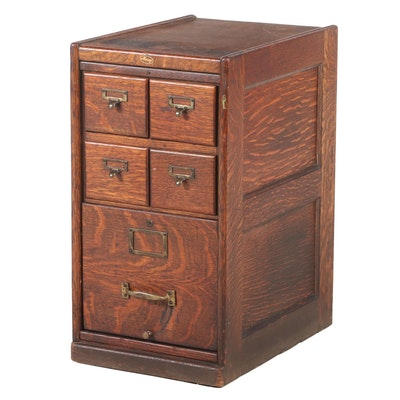 Macey Quartersawn Oak Five-Drawer File Cabinet, Early 20th Century