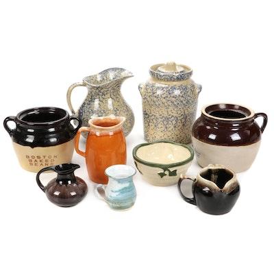 Sponge Ware and Glazed Stoneware Pitchers, Jars, and Bowl