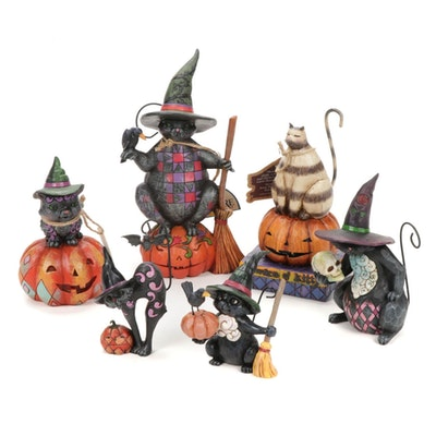 """Jim Shore """"Beware of Kitty"""" and Other Black Cat Halloween Figurines"""