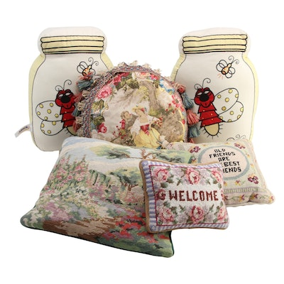 Needlepoint, ZZKids Firefly Jar, and Other Accent Pillows