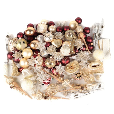 Red and Gold Glass Ball Christmas Ornaments with Other Ornaments and Décor