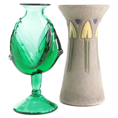 "Handblown Art Glass Vase by Michael Shearer and Roseville ""Mostique"" Vase"