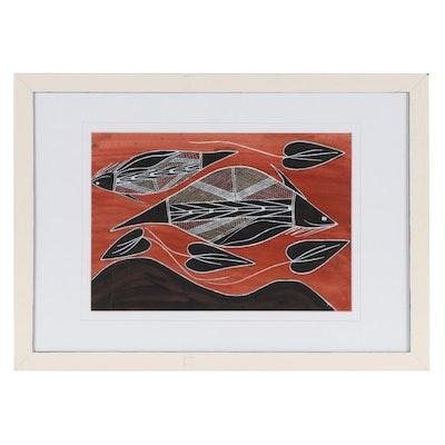 """Gunbalanya Gouache Painting """"Marine Creatures of the Dreamtime,"""" Circa 2000"""