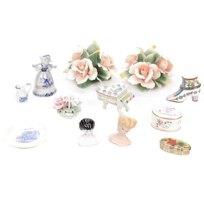 Capodimonte Candlestick Holders and Porcelain Trinket Boxes