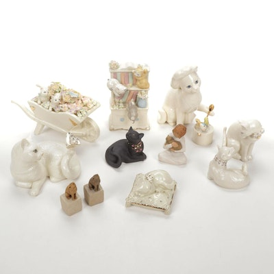 """Lenox """"Flower Cart Kittens"""" and Others with Willow Tree Porcelain Cat Figurines"""