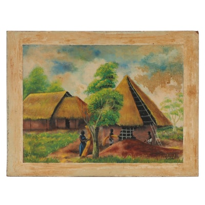 Genre Scene Oil Painting of Village, Mid to Late 20th Century