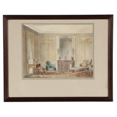 Virginia Scholze Watercolor Painting of Interior, Mid-20th Century