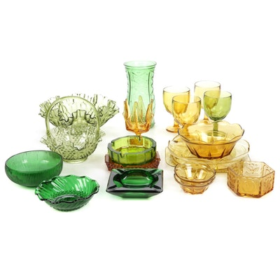 Amber and Green Glass Vase, Bowls and Other Decor, Vintage