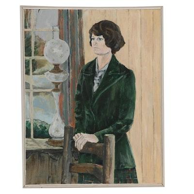 "Elsie Kay Harris Portrait Acrylic Painting ""Woman Standing"""