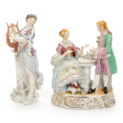 Andrea by Sadek and Other Neoclassical Style Porcelain Figurines, 20th C.