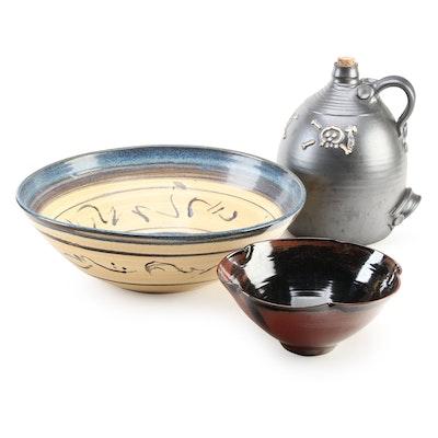 Signed Art Pottery Ceramic Bowls and Jug