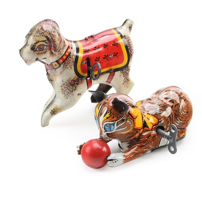 Louis Marx and Other Wind-Up Tin Lithograph Cat and Dog Toys, Mid-20th Century