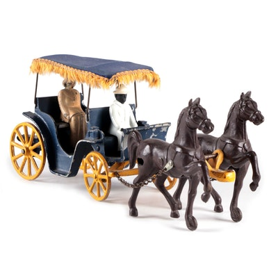 Stanley Toys Cast Iron and Aluminum Horse Drawn Carriage Toy