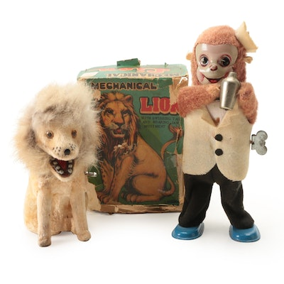 Linemar Wind-Up Mohair Mechanical Lion with Tin Litho Mohair Monkey Bartender