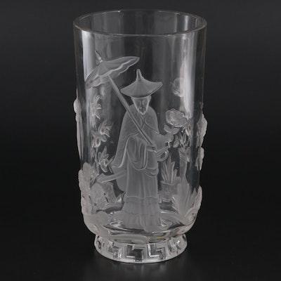 "Verlys ""Mandarin"" Crystal Vase, Mid-20th Century"