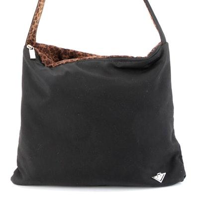 Bottega Veneta Reversible Shoulder Bag in Black and Leopard Print