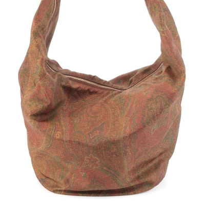 Etro Hobo Shoulder Bag in Printed Paisley Twill with Leather Trim