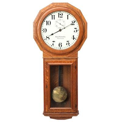 Chelsea Ball Watch Co. Oak Regulator Wall Clock, Late 19th/Early 20th Century