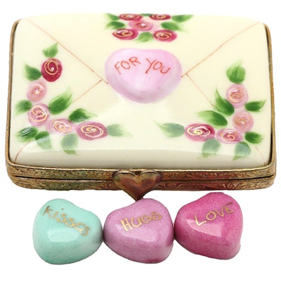 Rochard Hand-Painted Porcelain Valentine Limoges Box with Hearts