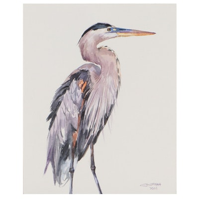 "Ganna Melnychenko Watercolor Painting ""Great Blue Heron Portrait"""
