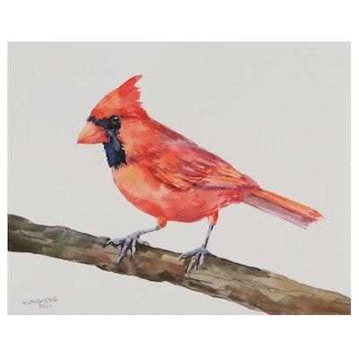 "Ganna Melnychenko Watercolor Painting of ""Northern Cardinal Bird on The Branch"""