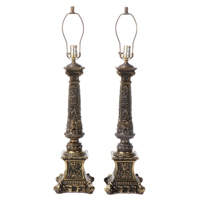 Pair of Rococo Style Gilt Metal Candlestick Table Lamps, Mid/Late 20th Century