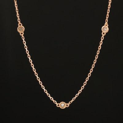 18K Rose Gold 0.21 CTW Diamond Station Necklace