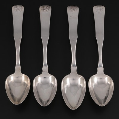 Scandinavian 800 Silver Serving Spoons with Shell Pattern Handles