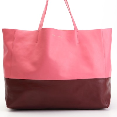 Céline Cabas Tote in Two-Tone Pink and Rust Lambskin Leather