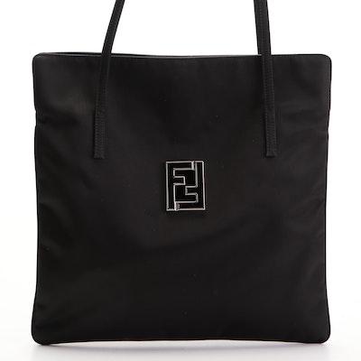 Fendi FF Logo Tote Bag in Black Nylon